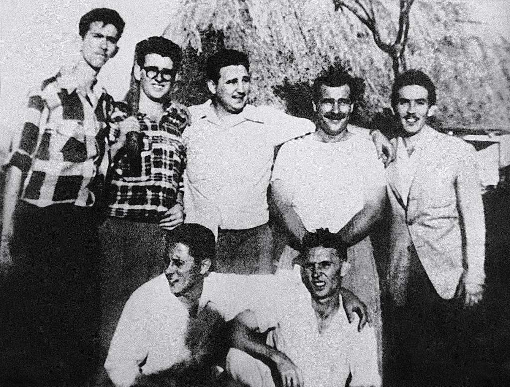 The guerrilla leader Fidel Castro (C) with a group of comrades in Los Palos, Havana province, in July 1953, during the preparation of the attack on the Moncada Garrison. Standing on the left: Antonio (Nico) Lopez and Abel Santamaria, on the right: Jose Luis Tasende and Ernesto Tizol.