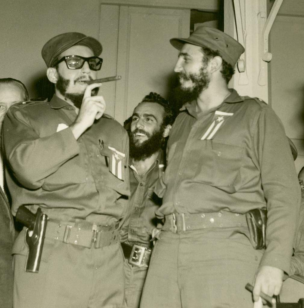 Picture dated 1959 shows Cuban leader Fidel Castro (R) next to a look-alike, Cuban actor Armando Roblan, impersonating Castro at Marti theatre, in Havana. Many Cuban people think Castro had a double.