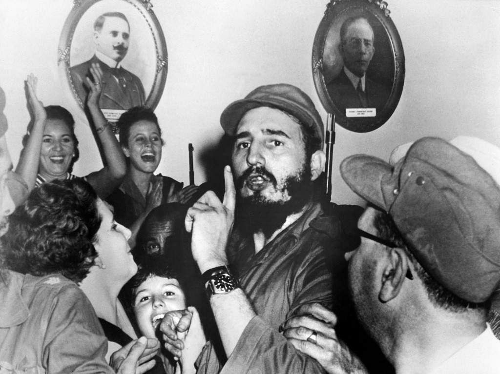 Picture dated 1959 of Cuban leader Fidel Castro (C) shortly after toppling dictator Fulgencio Batista during the revolutionary triumph, in Cienfuegos, 04 January 1959.