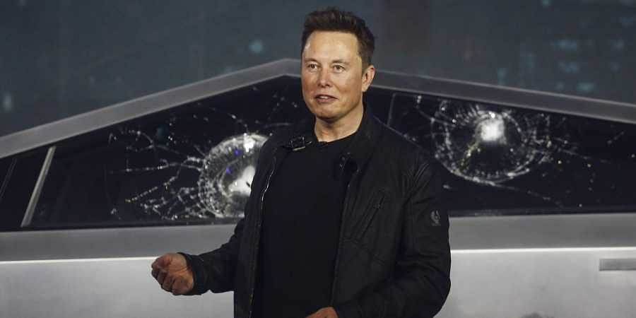 Tesla CEO Elon Musk introduces the Cybertruck at Tesla's design studio Thursday. (Photo | AP)