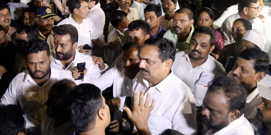 NCP MLA Jayant Patil speaks to media after a meeting with party MLA's in Mumbai Saturday Nov. 23 2019. (Photo | PTI)