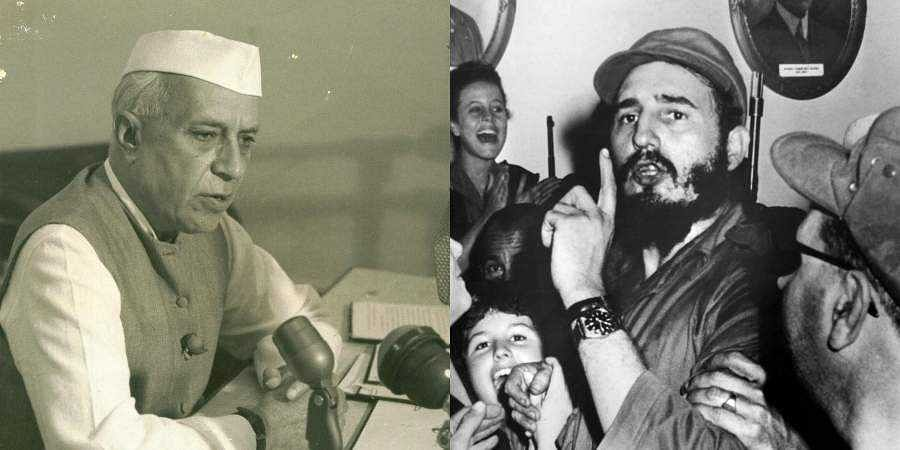 Former PM Jawaharlal Nehru (L) and Cuban revolutionary Fidel Castro