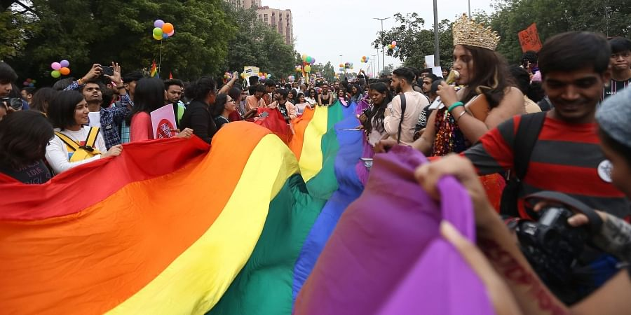 Members and supporters of the lesbian gay bisexual transgender LGBT take part in a pride parade in New Delhi on Sunday. (Photo | Arun Kumar P/EPS)