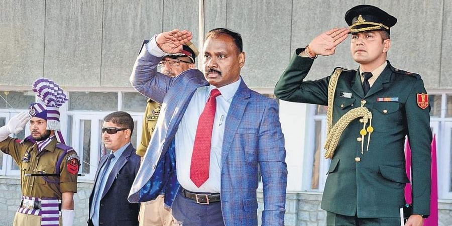 First Lt Governor Girish Chandra Murmu receives the guard of honour at the Civil Secretariat in Srinagar on Thursday