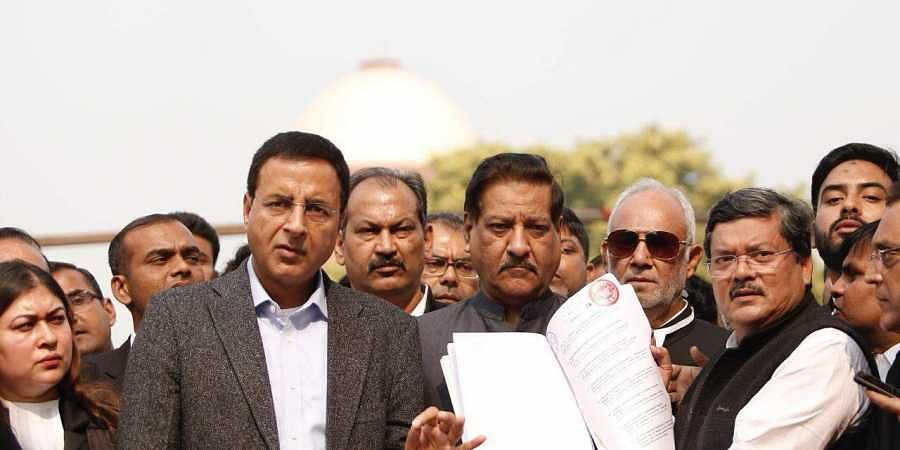 Randeep Surjewala and Prithviraj Chavan at Supreme court in New Delhi