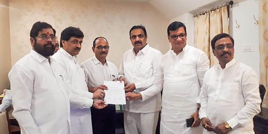 Congress-NCP-Shiv Sena leaders submit a letter of MLAs supporting their alliance to the officials at Raj Bhavan in Mumbai Monday Nov. 25 2019. (Photo | Twitter)