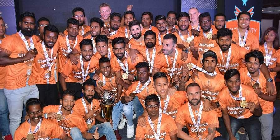 Chennai City FC celebrated their victory after winning the I League in March, event held at Taj Coramandel in Chennai.