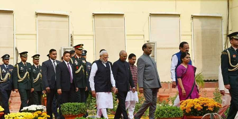 President Ramanth Kovind, Vice-President Venkiah naidu, PM Narendra Modi and Lok Sabha Speaker Om Birla arrives for the joint session of Parliament on Constitution Day during the winter session of Parliament in New Delhi on Tuesday. (Photo |Shekhar Yadav/