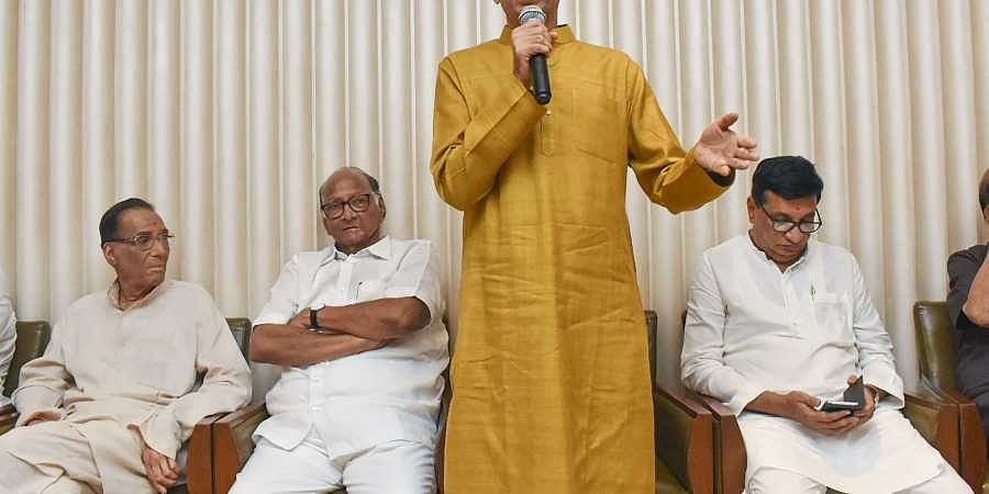 Shiv Sena President Uddhav Thackeray speaks after he was chosen as the nominee for Maharashtra chief minister's post by Shiv Sena-NCP-Congress alliance during a meeting in Mumbai Tuesday Nov. 26 2019.