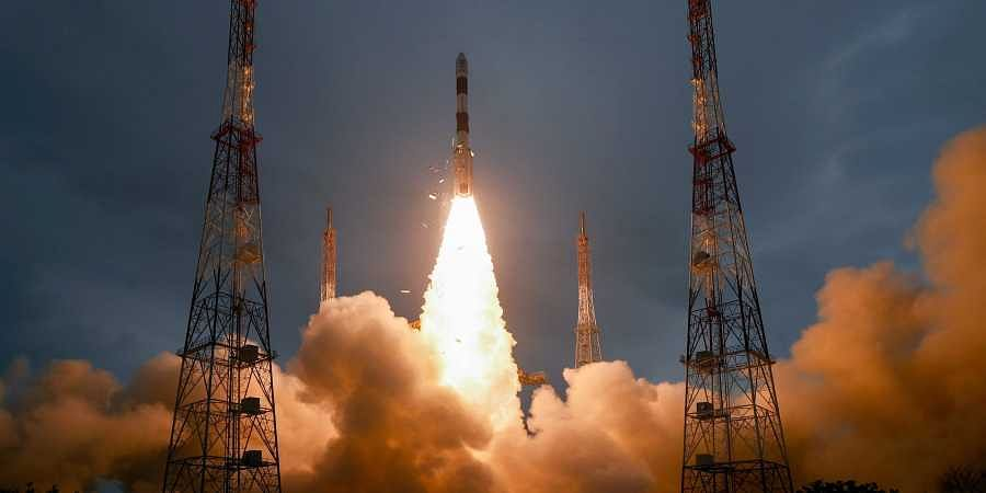 ISRO PSLV-C47 carrying India's earth observation satellite Cartosat-3 and 13 nano-satellites from the US lifts-off from Sriharikota in Andhra Pradesh Wednesday Nov. 27 2019. (Photo | PTI)