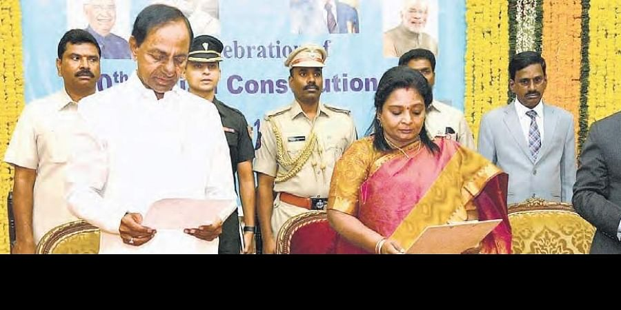 Governor Tamilisai along with Chief Minister K Chandrasekhar Rao and Chief Justice of Telangana High Court Raghavendra Singh Chouhan at the Constitution Day celebrations at Raj Bhavan in Hyderabad on Tuesday.