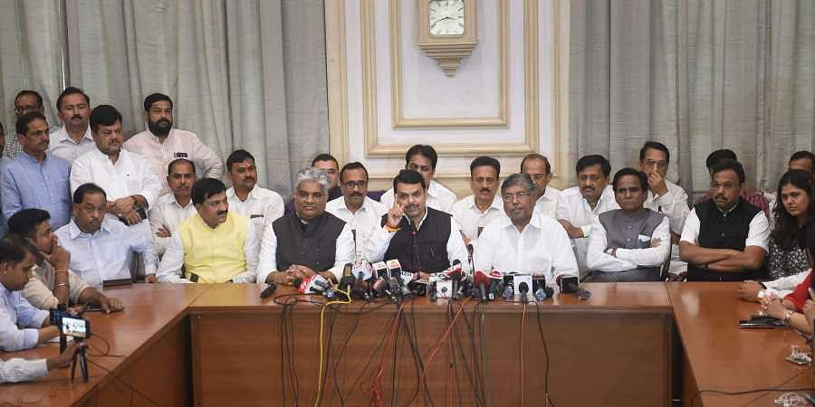 Former Maharashtra CM Devendra Fadnavis, BJP Maharashtra president Chandrakant Patil, BJP Maharashtra in-charge Bhupendra Yadav and others during a press conference in Mumbai Tuesday Nov. 26 2019. (Photo | PTI)