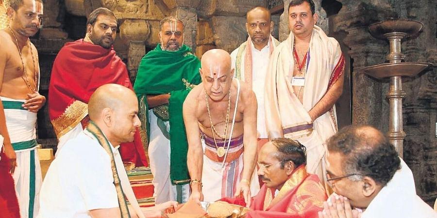 ISRO chairman K Sivan offering prayers at Tirumala temple on Tuesday.
