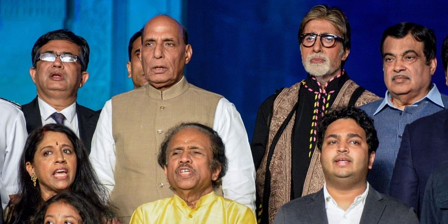 Defence Minister Rajnath Singh Union Minister Nitin Gadkari Bollywood actor Amitabh Bachchan and others during a function to pay homage to 26/11 victims at Gateway of India in Mumbai Tuesday Nov. 26 2019.