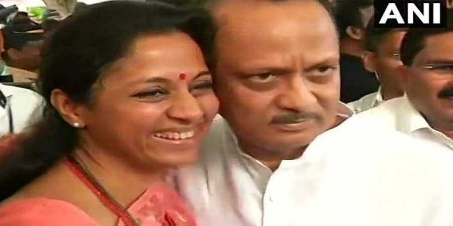 NCP leader Supriya Sule welcomed Ajit Pawar at Maharashtra assembly, earlier on Wednesday before the special session. (Photo | Twitter)