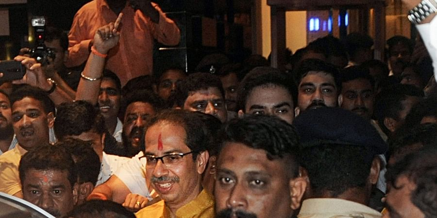 Shiv Sena chief Uddhav Thackeray leaves Trident Hotel after a meeting with NCP chief Sharad Pawar in Mumbai Tuesday Nov. 26 2019. (Photo | PTI)