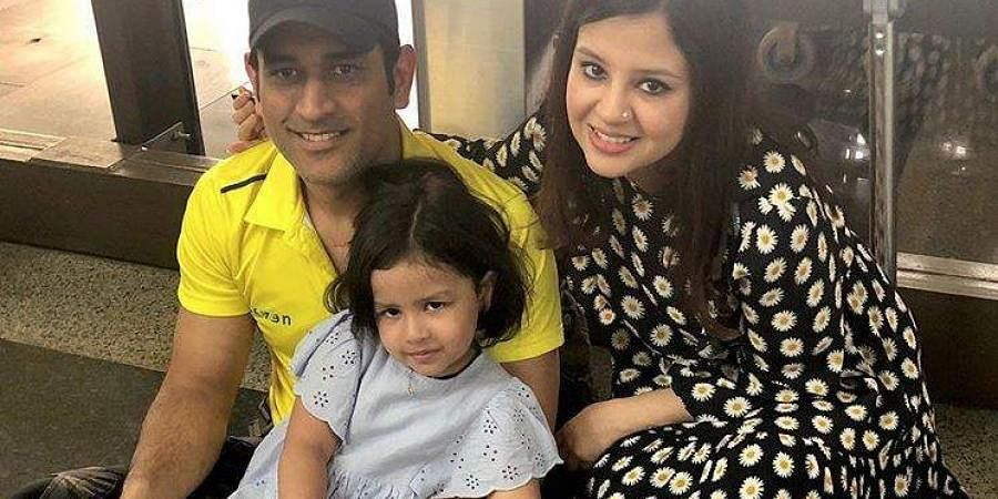 Mahendra Singh Dhoni with his wife Sakshi Singh. (Photo | Instagram)