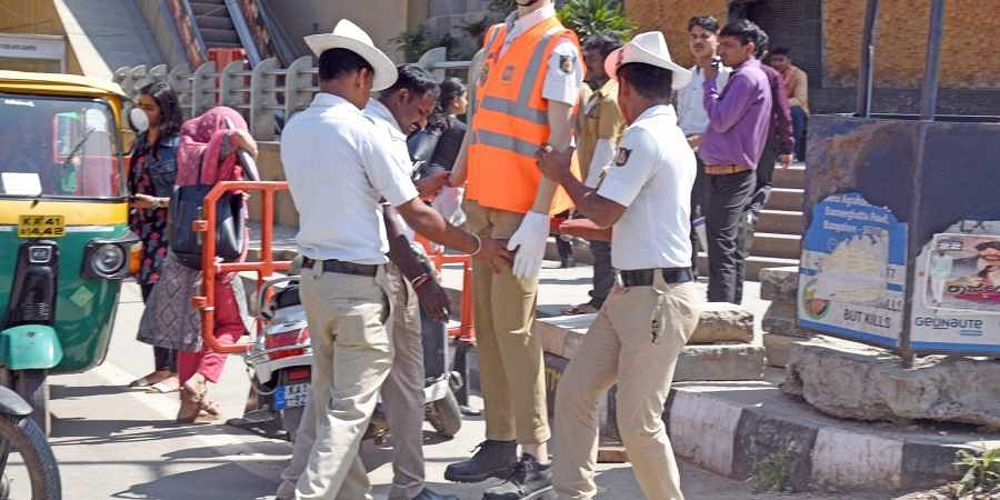 Bengaluru city traffic police installing traffic cop mannequins