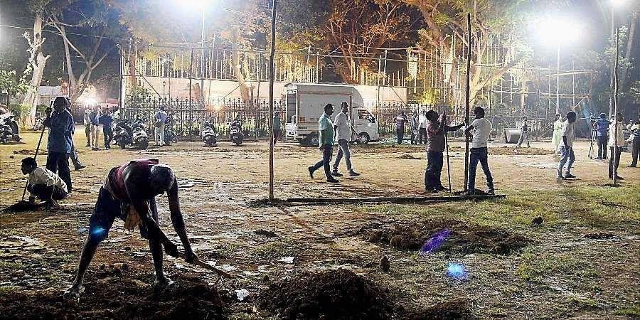 Preparations in full swing at the Shivaji Park for the swearing-in ceremony of Shiv Sena chief Uddhav Thackeray as Maharashtra chief minister in Mumbai.