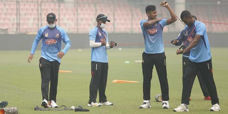 Bangladesh cricket team during a practice session at Arun Jaitley Stadium in New Delhi.