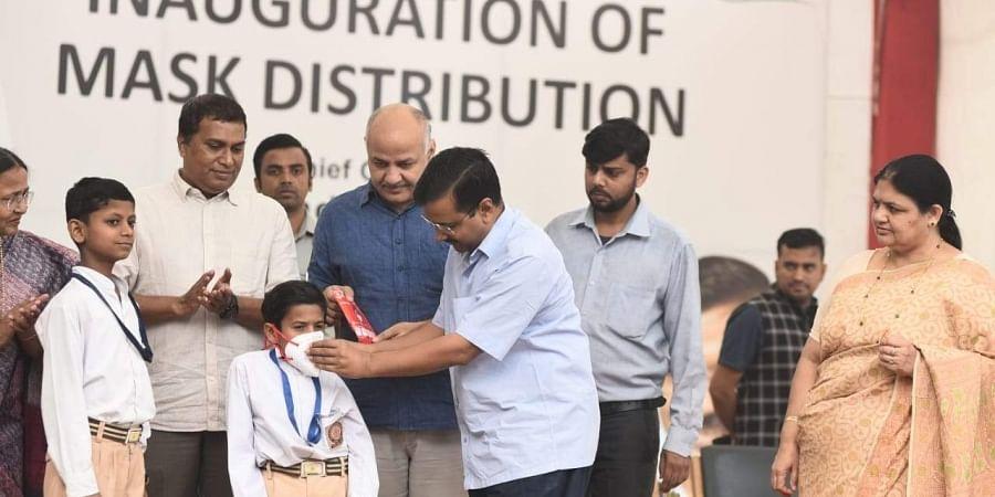 Delhi CM Arvind Kejriwal along with dyCM Manish Sisodia during an event to distribute free masks in Delhi Government Schools at Rajkiya Pratibha Vikas Vidyalaya Civil Line in New Delhi on Friday