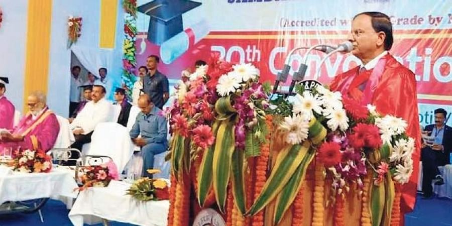 PM's Principal Secretary Pramod Kumar Mishra addressing the convocation | Express