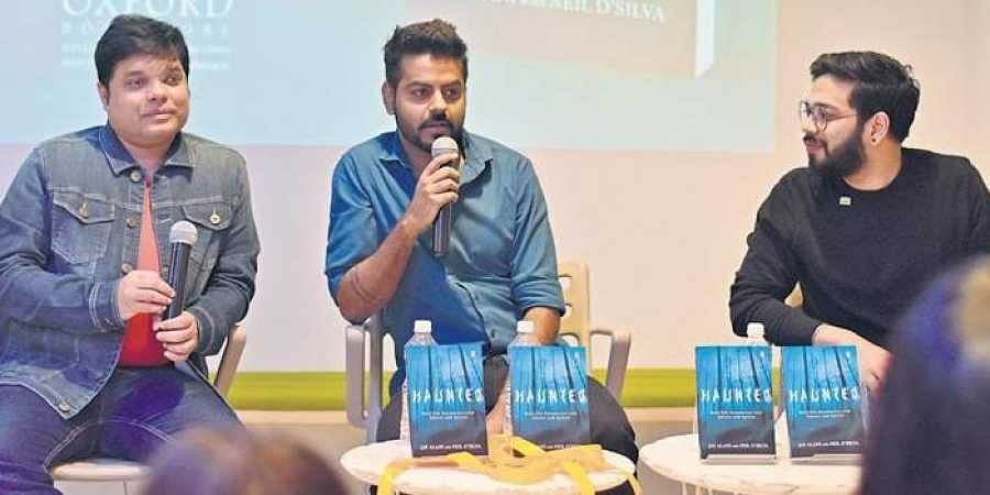 Authors Neil D'Silva and Jay Alani with RJ Aniket at the recent launch of Haunted Talks