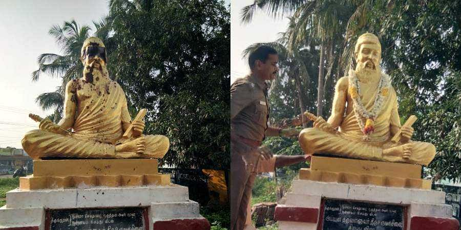 The Thiruvalluvar statue was desecrated by miscreants at Pillayarpatti near Thanjavur (L) and later the statue was cleaned and garlanded.