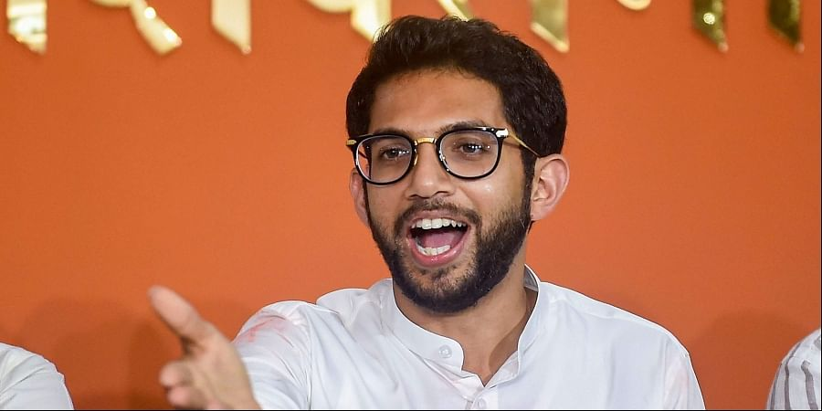 Shiv Sena leader Aditya Thackeray during a press conference at Sena Bhavan in Mumbai .