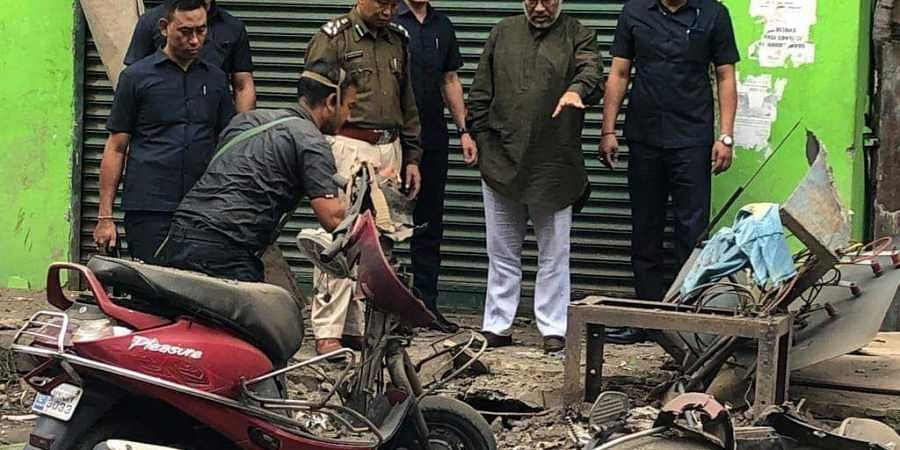 Manipur CM N Biren Singh at blast site in Manipur capital Imphal on Tuesday, November 5, 2019. | (Photo | EPS)