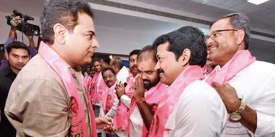 KT Rama Rao congratulates party leaders for Huzurnagar bypoll win, during a meeting at Pragathi Bhavan in Hyderabad on Monday.