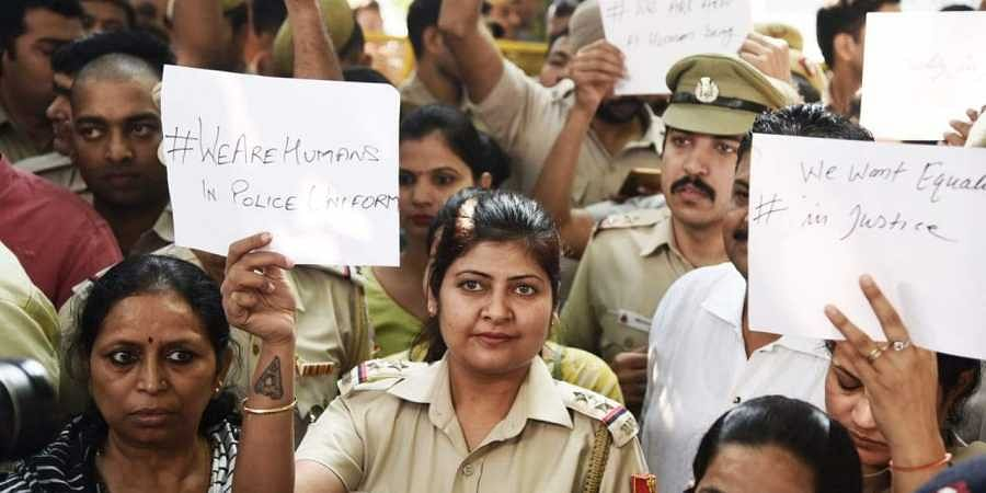 Delhi Police officials held protest demonstration against the recent attack by lawyers at the Police headquarters in New Delhi on Tuesday