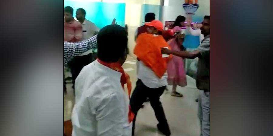Shiv Sena activists attack the Iffco Tokio General Insurance company's office  in Pune