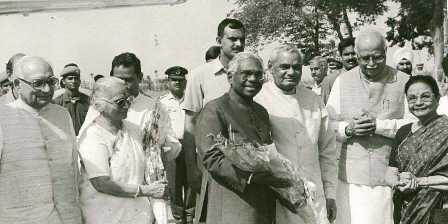 KR Narayanan, former president of India and Smt. Usha Narayana being seen off by then Vice President Shri Krishnan Kant, the PM Shri Atal Bihari Vajpayee and the Union Home Minister Shri LK Advani on thier departure for a three-day state visit to Nepal, at Delhi airport.