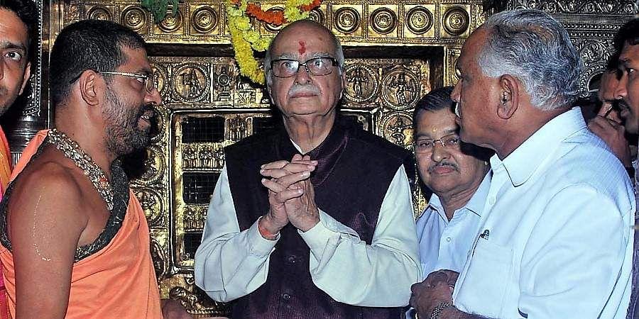 BJP senior leader LK Advani visits Sri Krishna temple in Udupi, CM BS Yeddyurappa, Dr VS Acharya and others are seen.