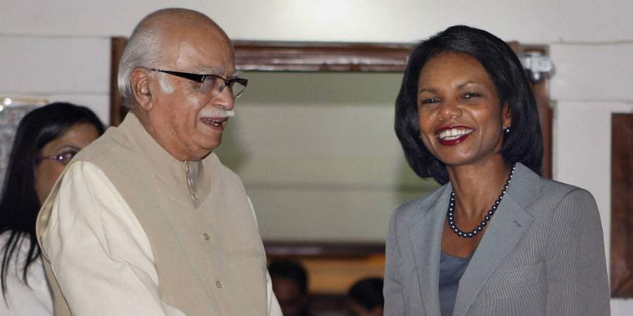 Then US Secretary of State Condoleezza Rice meets with the Leader of Opposition in the Lok Sabha LK Advani at his residence in New Delhi.