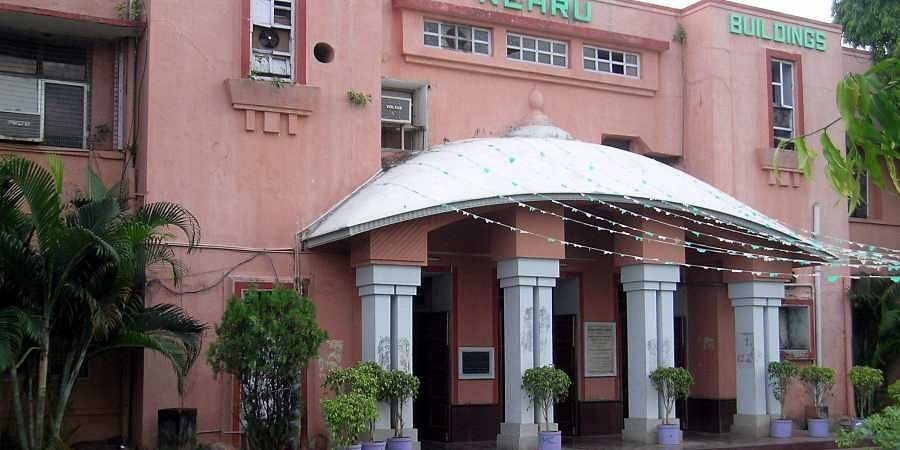 A view of Vijayawada Municipal corporation building in the city.