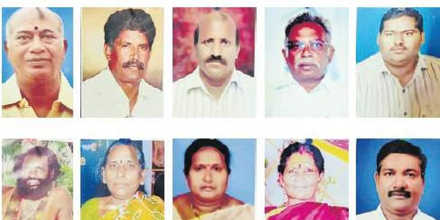 File photos of the ten victims who were eliminated over a period of 20 months by serial killer Vellanki Simhadri alias Siva of Eluru. (Photo | EPS)