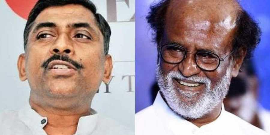 BJP National general secretary P Muralidhar Rao (L) and actor Rajinikanth