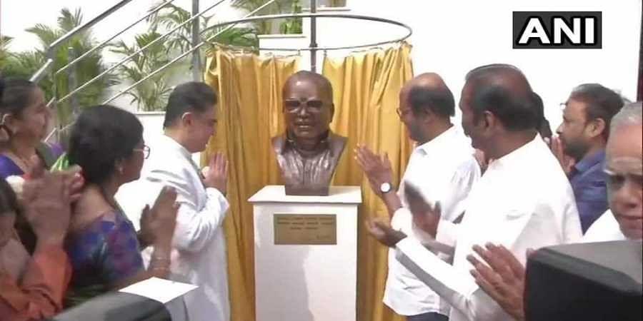 Superstars Rajinikanth and Kamal Haasan unveiled a statue of legendary filmmaker K Balachandar at the new office premises of Kamal's production house.