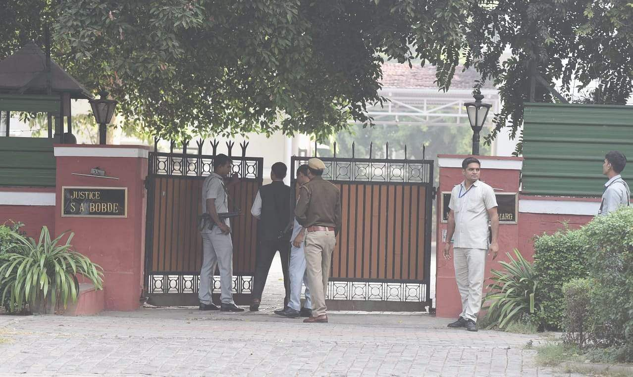 Security outside Justice S A Bobde residence in New Delhi on Saturday. (Photo | EPS/PRAVEEN NEGI)
