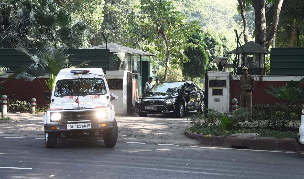 CJI Ranjan Gogoi leaves from his residence in New Delhi on Saturday. (Photo   EPS/Praveen Negi)