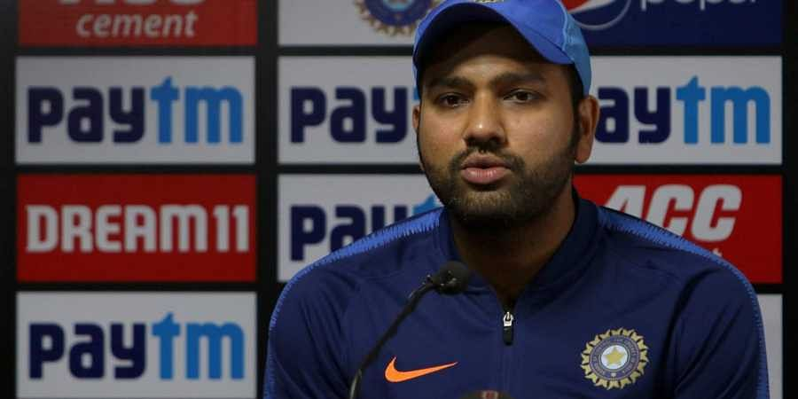 Indian captain Rohit Sharma speaks during a press conference