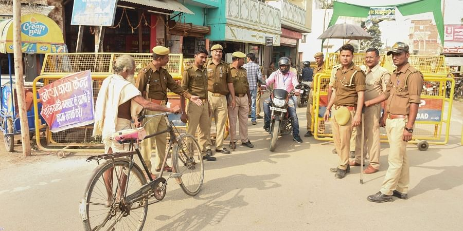 Police personnel conduct searches near the site of disputed Ram Janambhoomi-Babri Masjid site as the verdict date nears in Ayodhya Friday Nov. 8 2019. | (Photo | PTI)