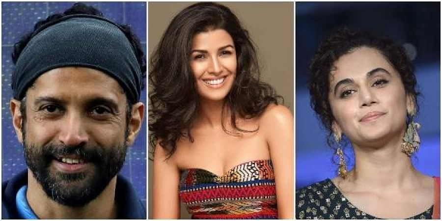 From (left to right) Farhan Akhtar, Nimrat Kaur and Taapsee Pannu (Photos | PTI)From (left to right) Farhan Akhtar, Nimrat Kaur and Taapsee Pannu