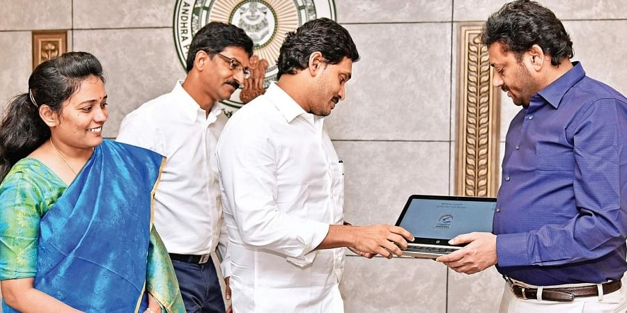 CM YS Jagan Mohan Reddy launches Connect to Andhra web portal at Secretariat on Friday.
