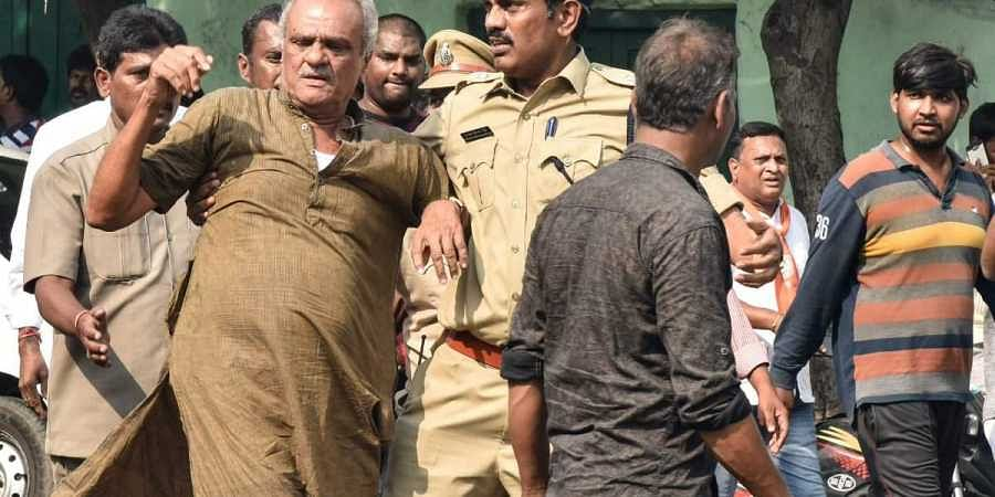 CPI National Secretary, K Narayana was detained by the police after he took part in the 'Chalo Tank Bund' protest by RTC
