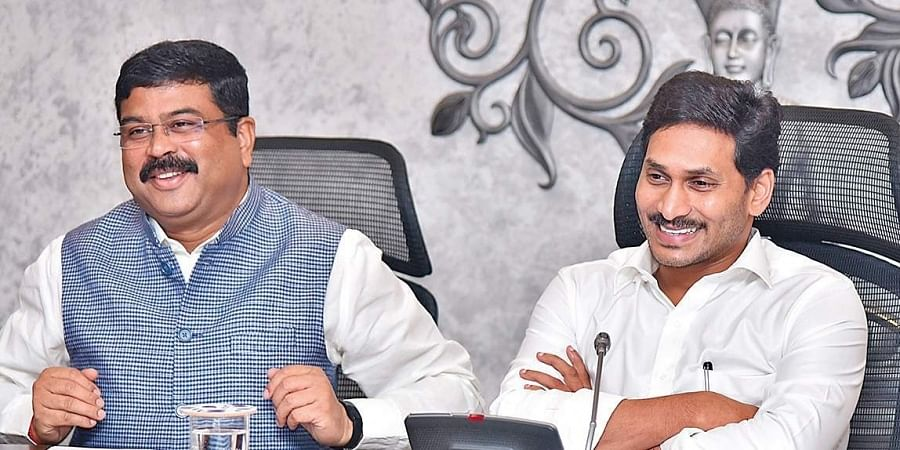 Union Petroleum Minister Dharmendra Pradhan and CM Jagan Mohan Reddy taking part in a meeting at the Secretariat in Velagapudi on Friday.