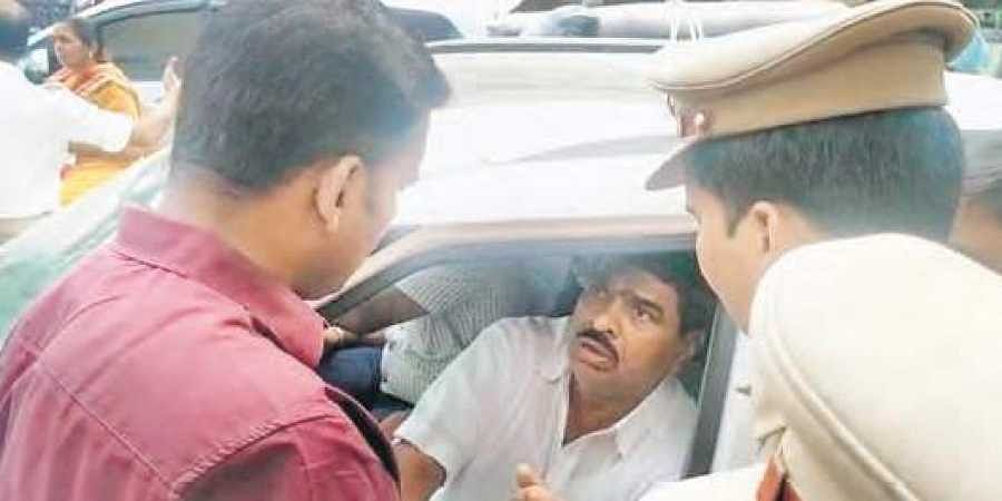 TSRTC JAC leader Raji Reddy being arrested by police on Friday as a precautionary measure ahead of the Chalo Tank Bund protest to be held in Hyderabad.