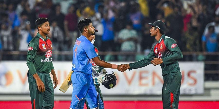 Indian batsman Shreyas Iyer shakes hand with Bangladeshi player Mahmudullah after India's win in the second T20 cricket match against Bangladesh at Saurashtra Cricket Association Stadium in Rajkot Thursday Nov. 7 2019. | (Photo | PTI)